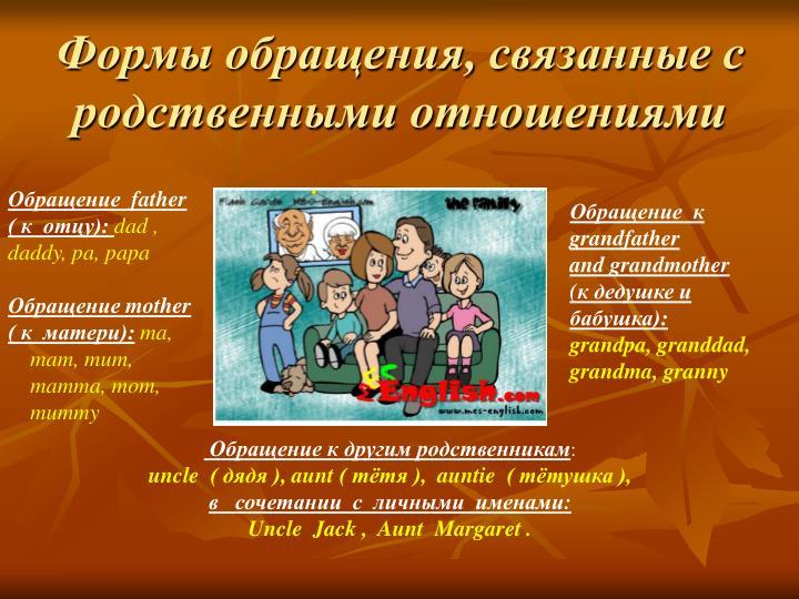 Формы обращения, связанные с родственными