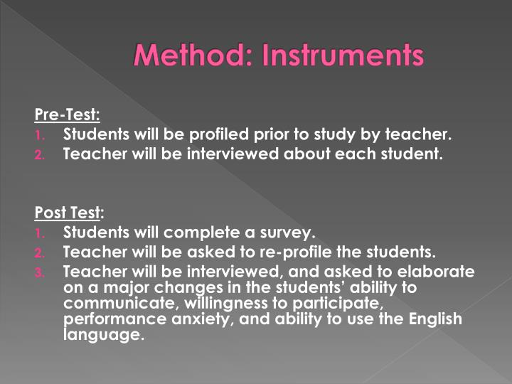 Method: Instruments