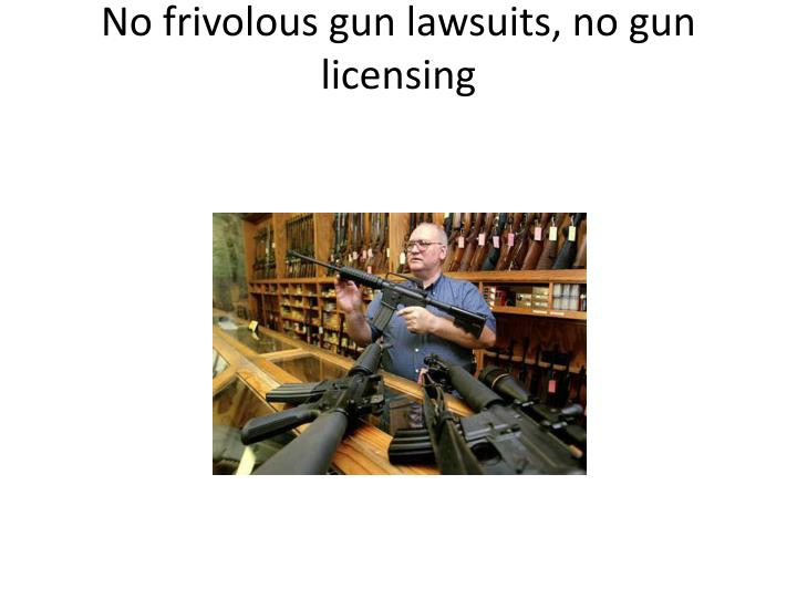 No frivolous gun lawsuits, no gun licensing