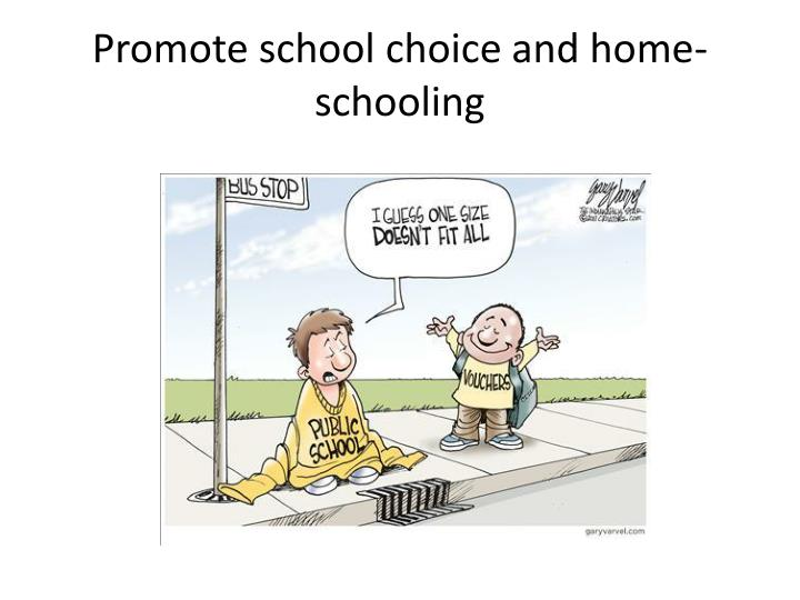 Promote school choice and home-schooling