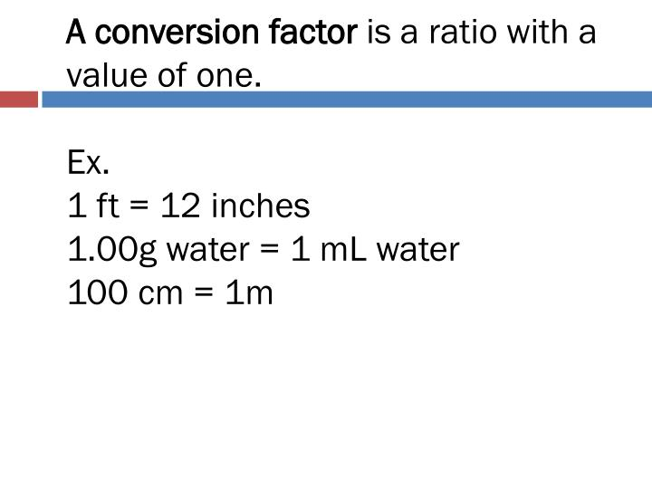 A conversion factor