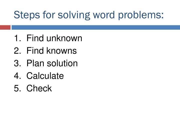 Steps for solving word problems