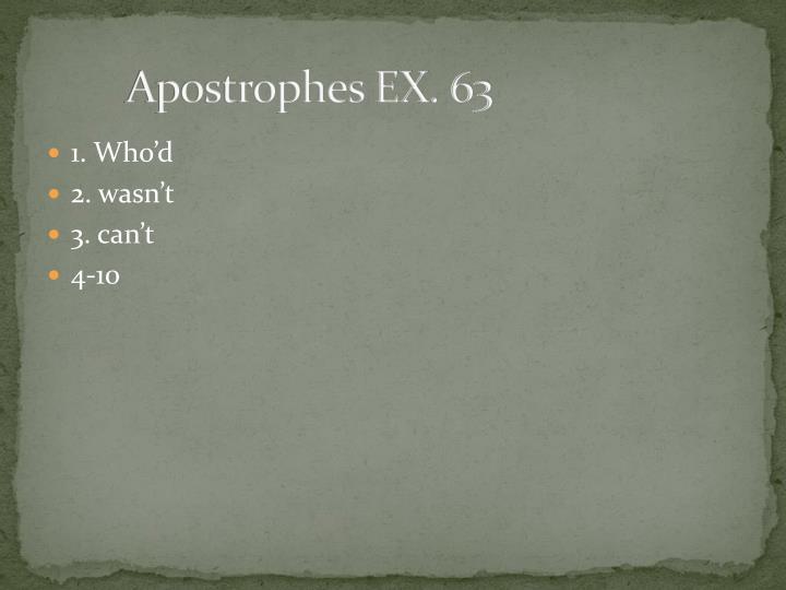 Apostrophes EX. 63