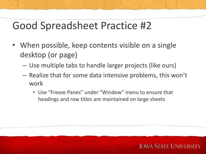 Good Spreadsheet Practice #2
