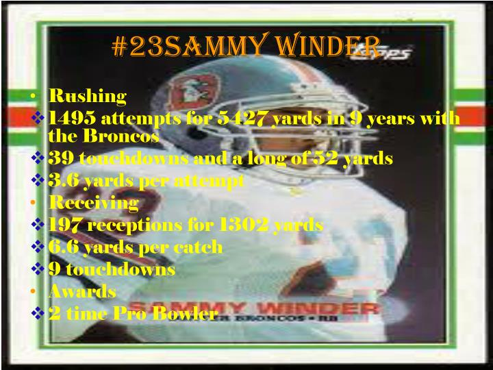 #23Sammy Winder