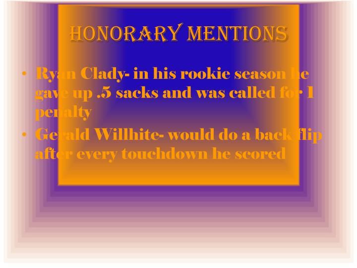 Honorary Mentions