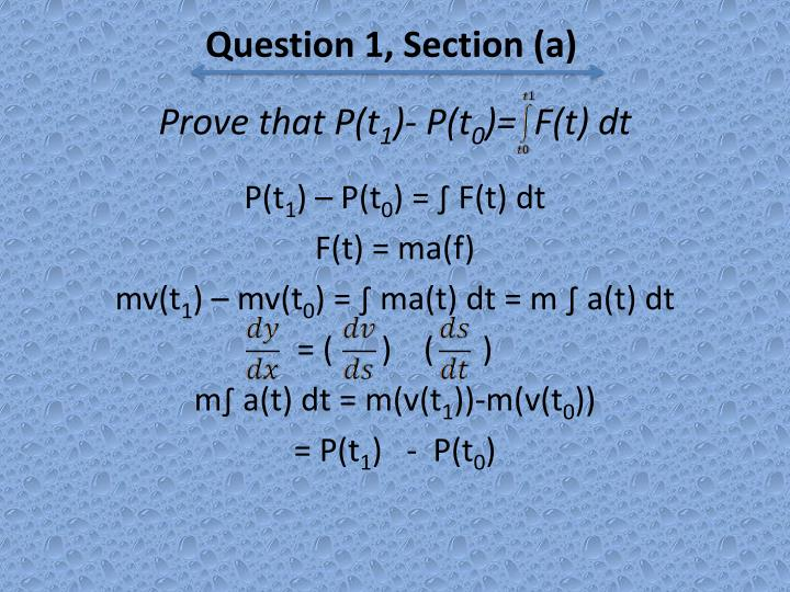 Question 1, Section (a)