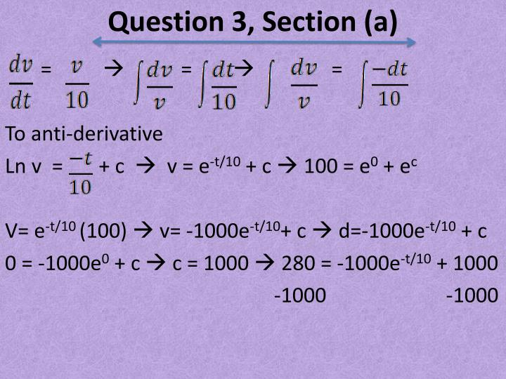 Question 3, Section (a)