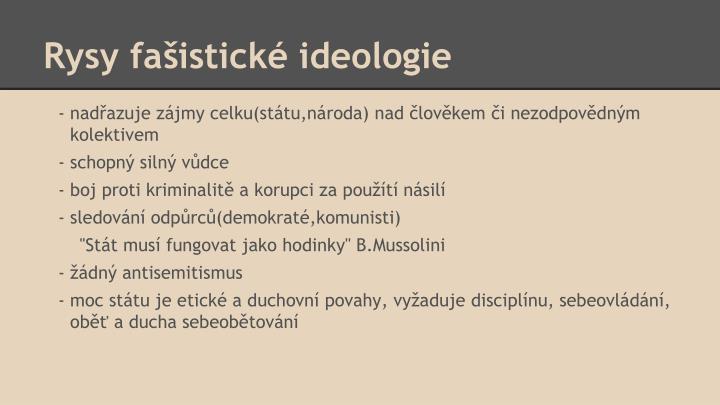 Rysy fašistické ideologie