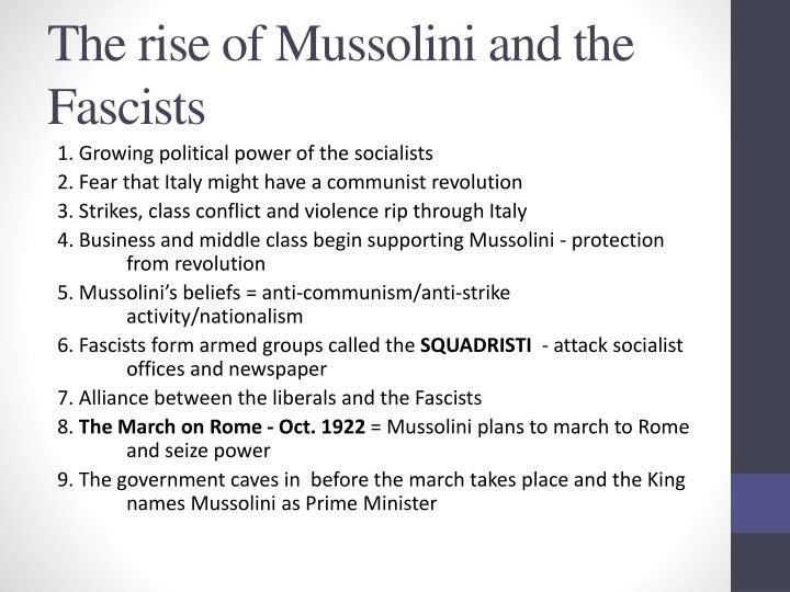 The rise of Mussolini and the Fascists