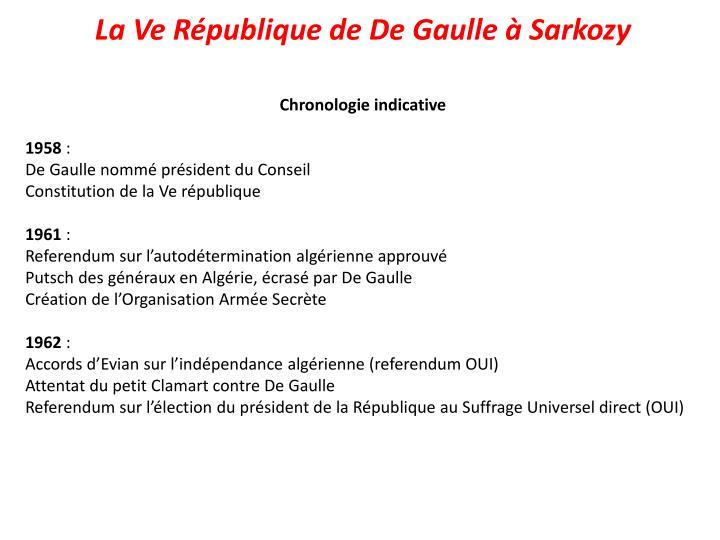 La Ve République de De Gaulle à Sarkozy