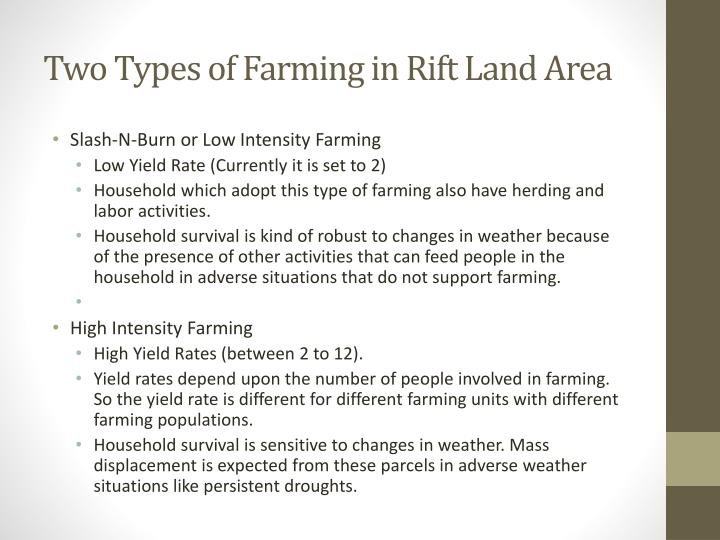 Two types of farming in rift land area