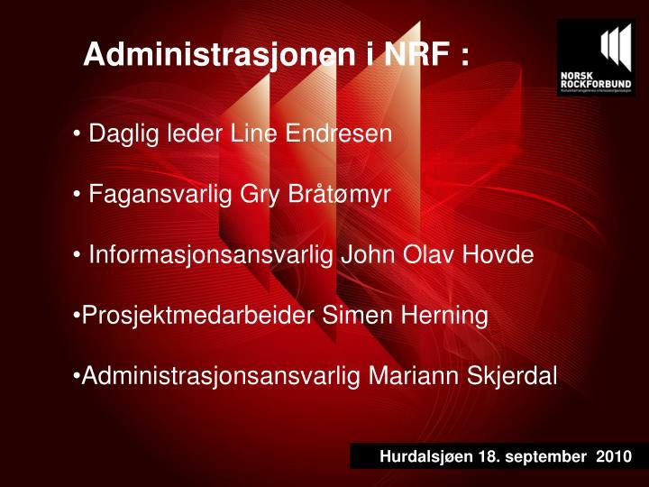 Administrasjonen i NRF :