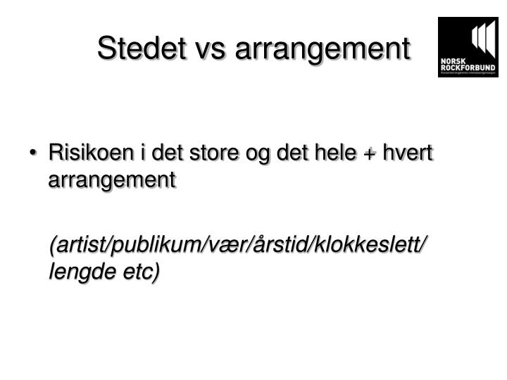 Stedet vs arrangement
