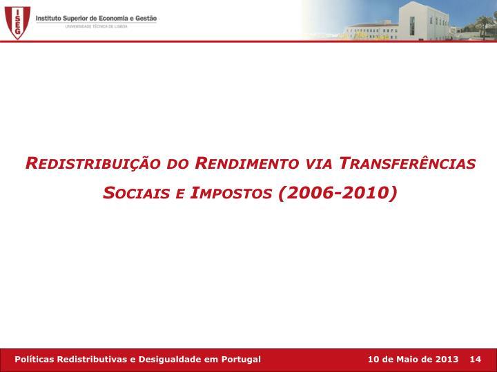 Redistribuição do Rendimento via Transferências Sociais e Impostos (2006-2010)