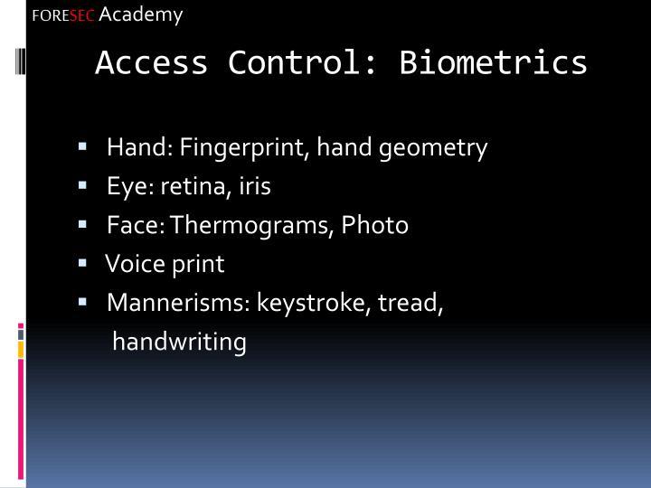 Access Control: Biometrics