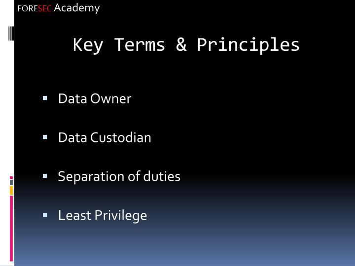 Key Terms & Principles