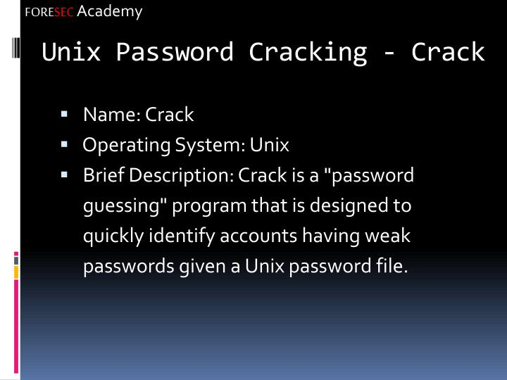 Unix Password Cracking - Crack