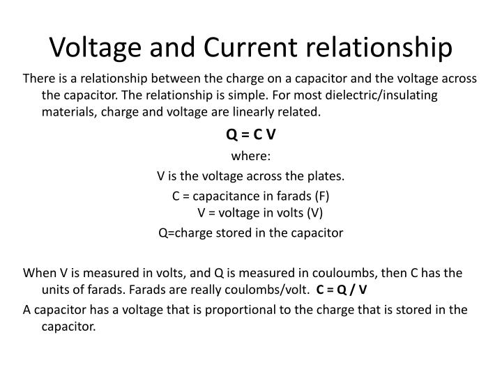 Voltage and Current relationship
