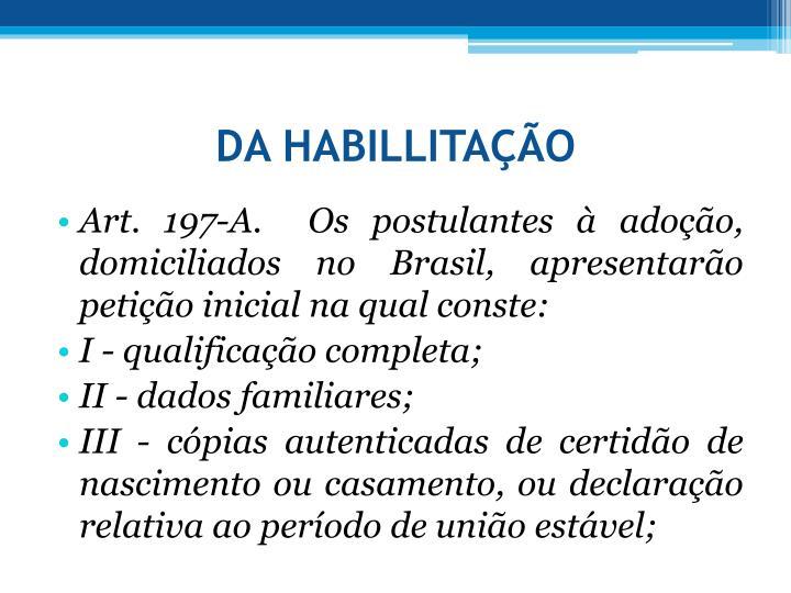DA HABILLITAO
