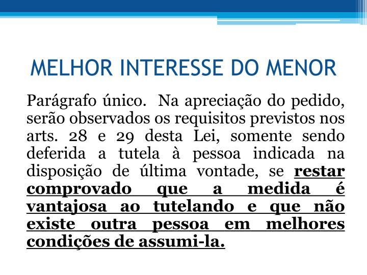 MELHOR INTERESSE DO MENOR