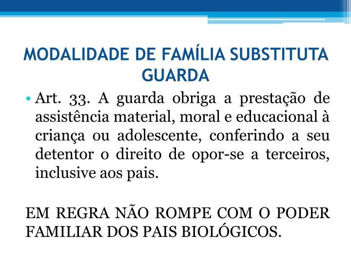 MODALIDADE DE FAMLIA SUBSTITUTA