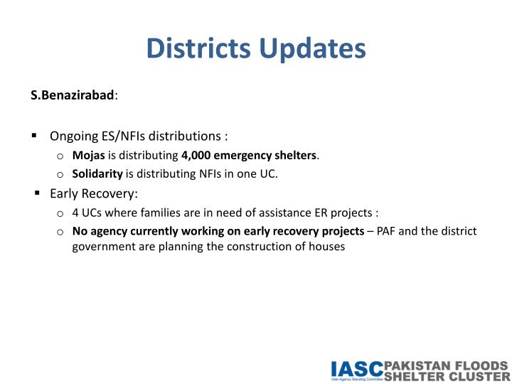 Districts Updates