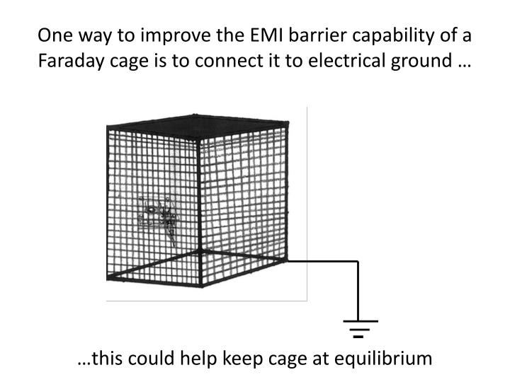 One way to improve the EMI barrier capability of a Faraday cage is to connect it to electrical ground …