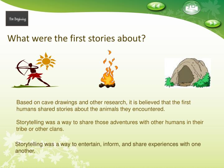 What were the first stories about?