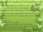 prompt for analytical writing literary