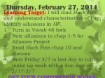 thursday february 27 2014