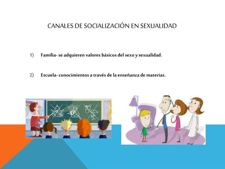 CANALES DE SOCIALIZACIÓN EN SEXUALIDAD