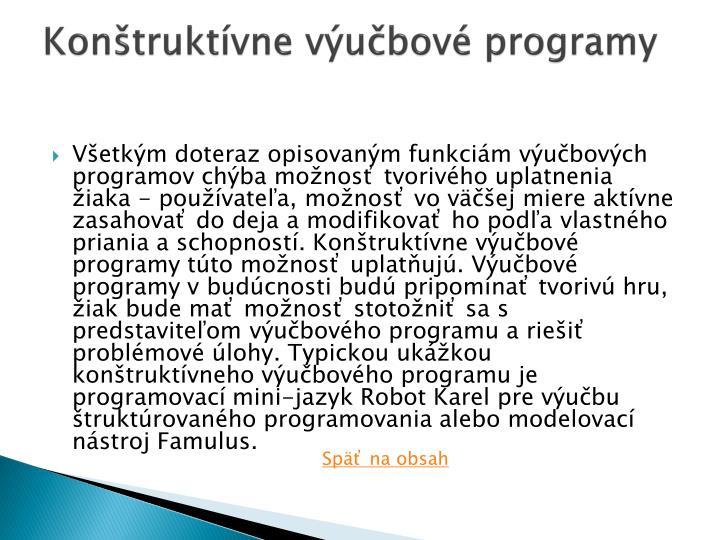 Konštruktívne výučbové programy