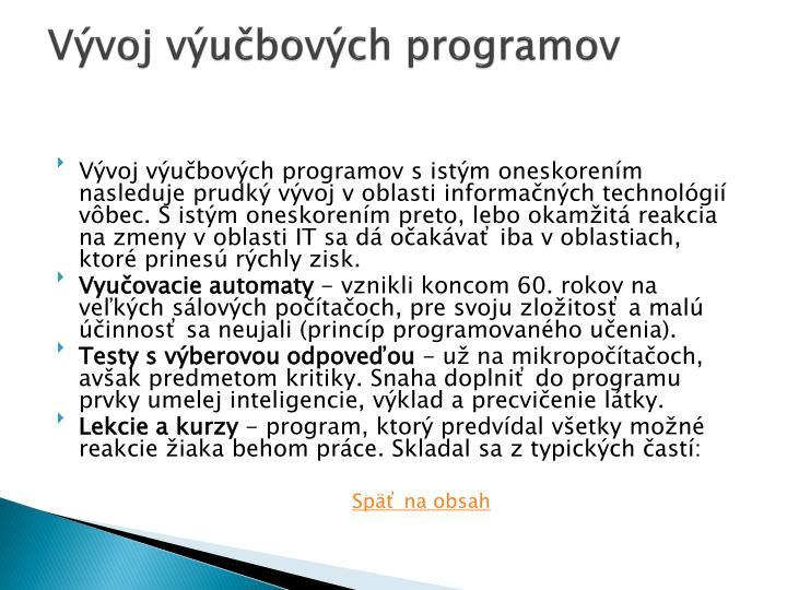 Vývoj výučbových programov