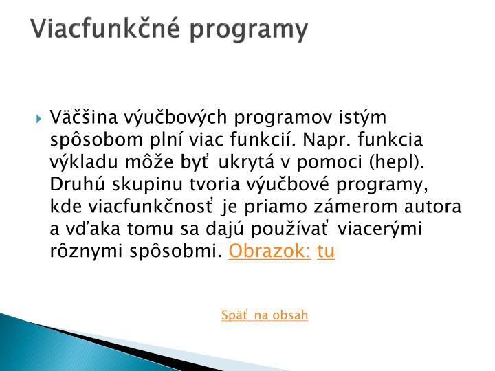 Viacfunkčné programy