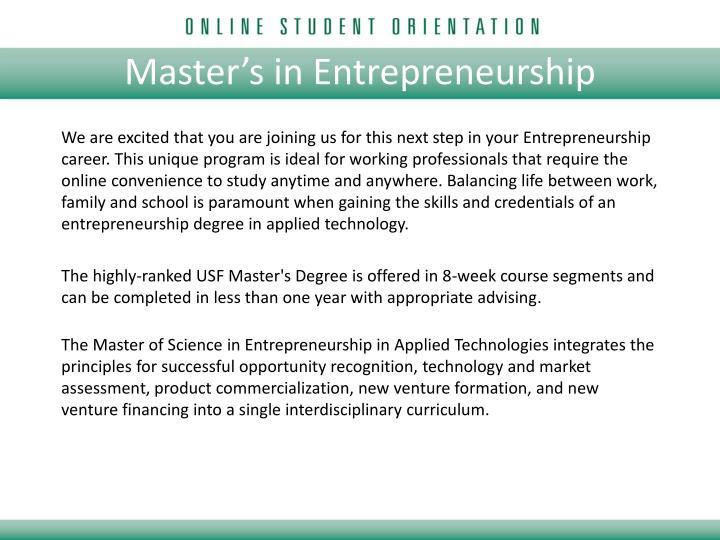 Master's in Entrepreneurship