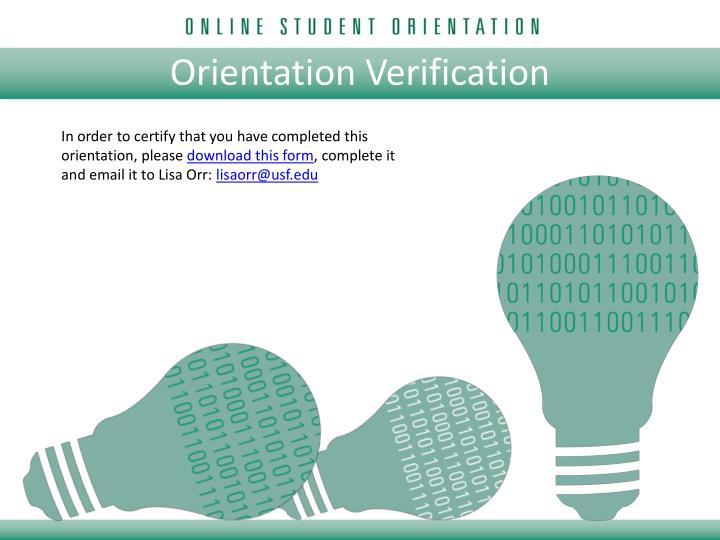 Orientation Verification
