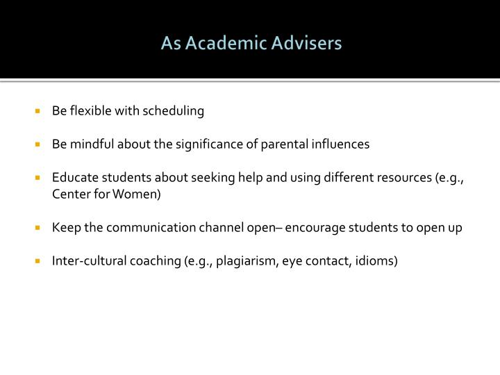 As Academic Advisers