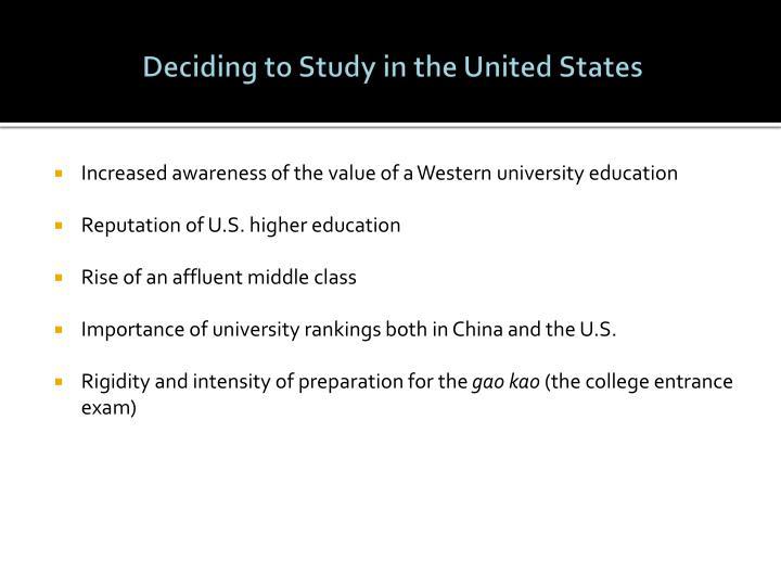 Deciding to Study