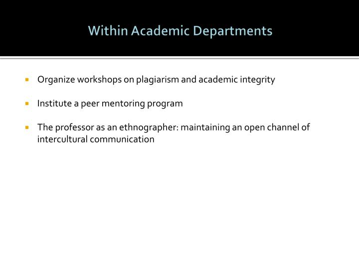 Within Academic Departments