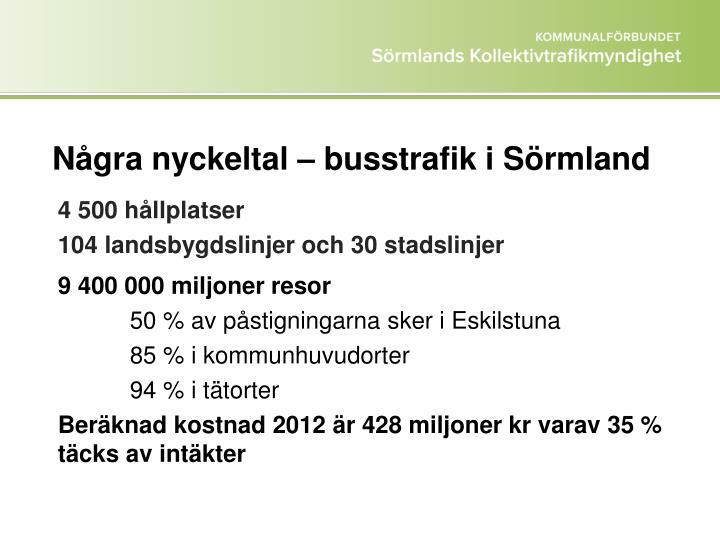 Några nyckeltal – busstrafik i Sörmland