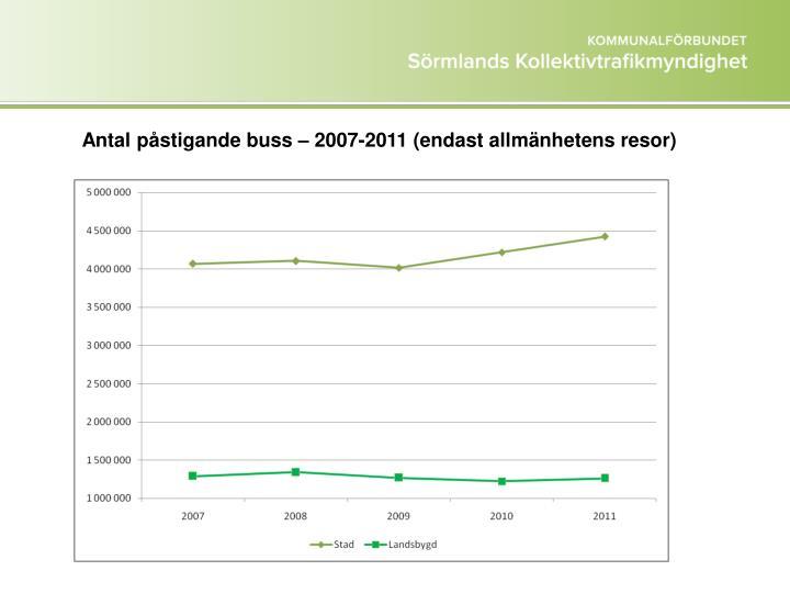 Antal påstigande buss – 2007-2011 (endast allmänhetens resor)