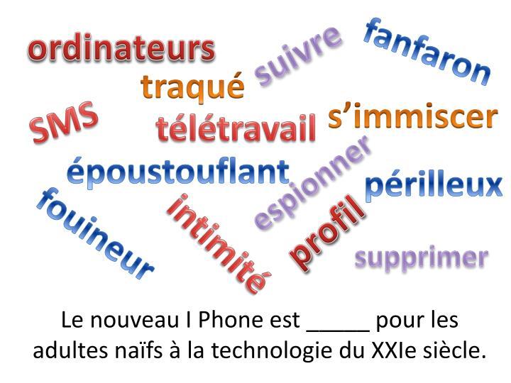 Le nouveau I Phone est _____ pour les adultes naïfs à la technologie du XXIe siècle.