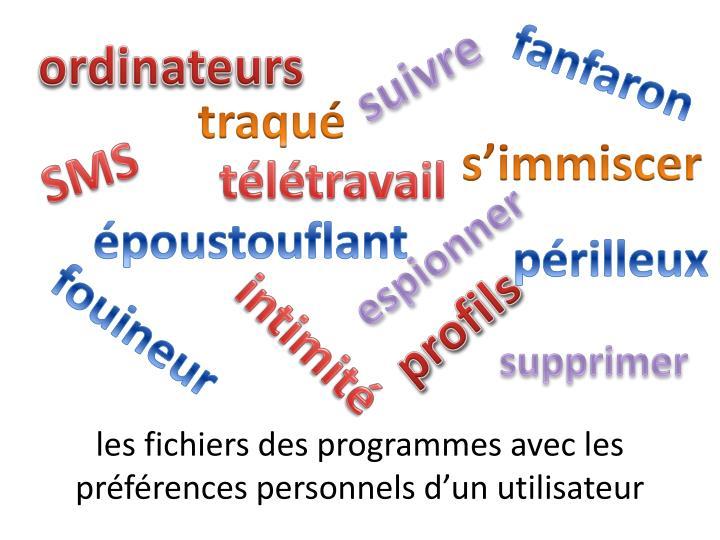 les fichiers des programmes avec les préférences personnels d'un utilisateur