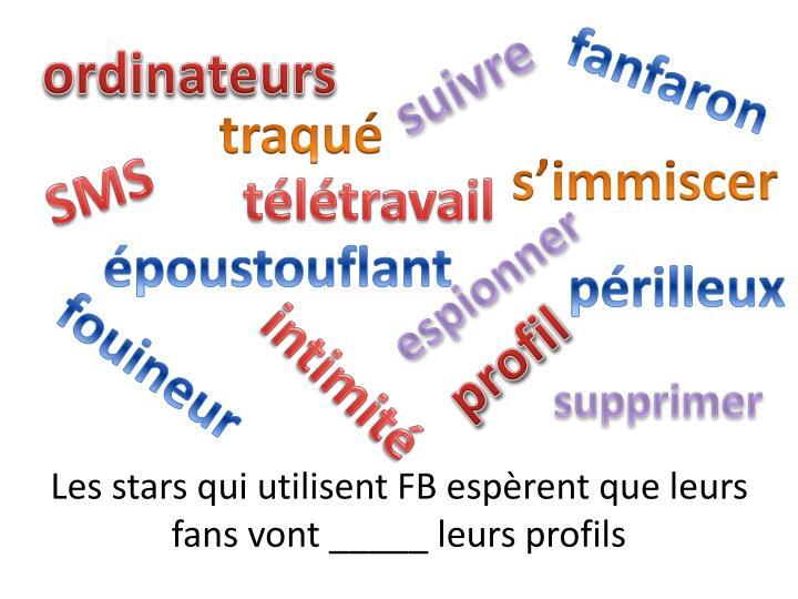 Les stars qui utilisent FB espèrent que leurs fans vont _____ leurs profils
