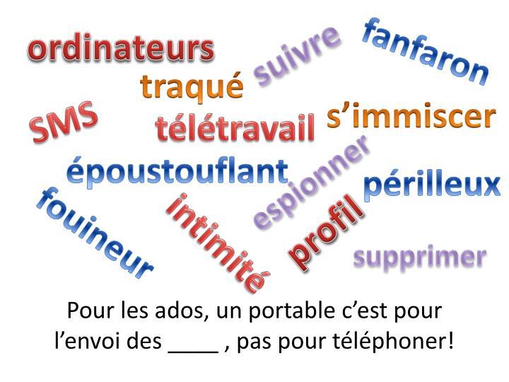 Pour les ados, un portable c'est pour l'envoi des ____ , pas pour téléphoner!