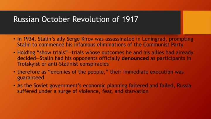 Russian October Revolution of 1917
