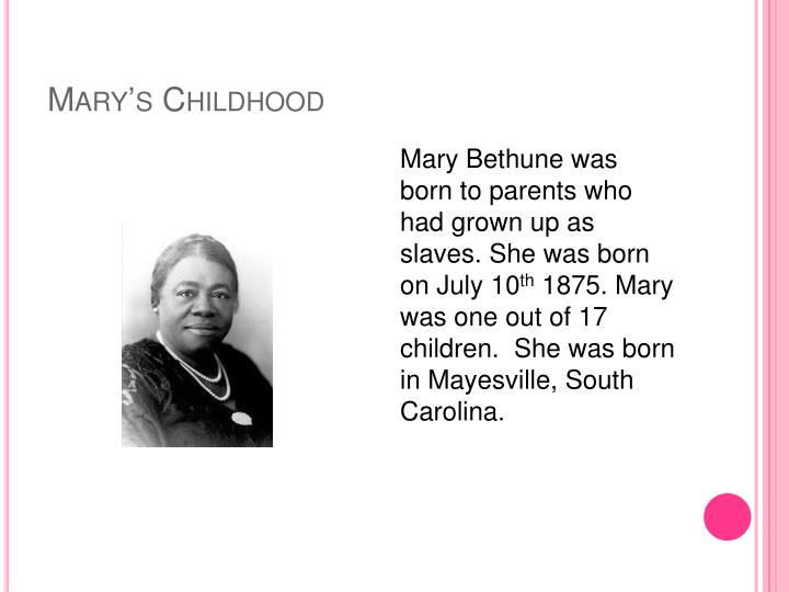 Mary s childhood