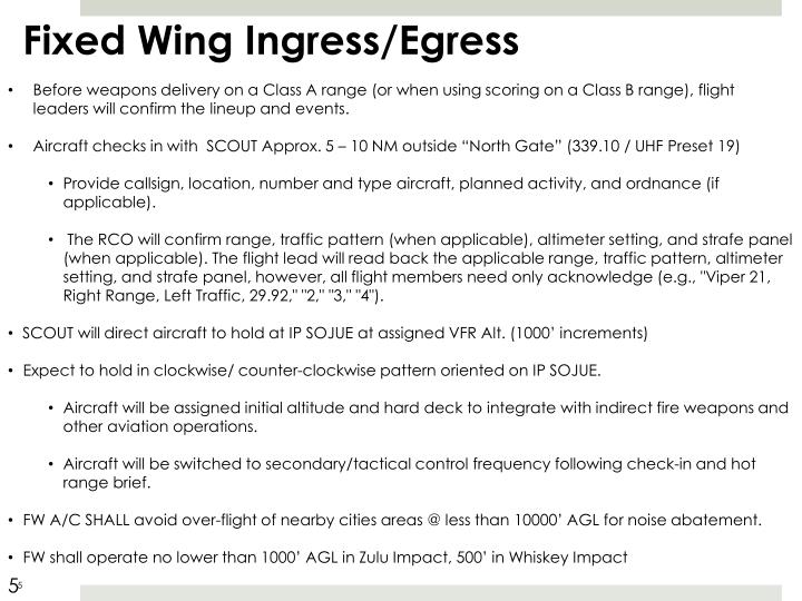 Fixed Wing Ingress/Egress
