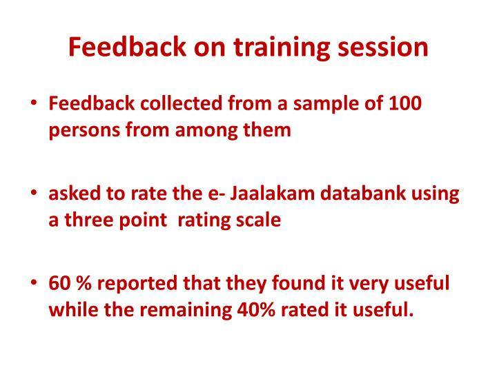 Feedback on training session
